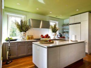 Натяжной одноуровневый потолок на кухне